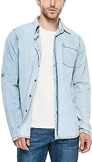 APRAW Denim Shirt for Men Cotton Standard-Fit Long-Sleeve Shirts