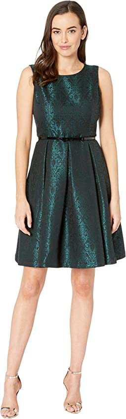 Jacquard Sleeveless Crew Neck Fit & Flare Dress w/ Belt