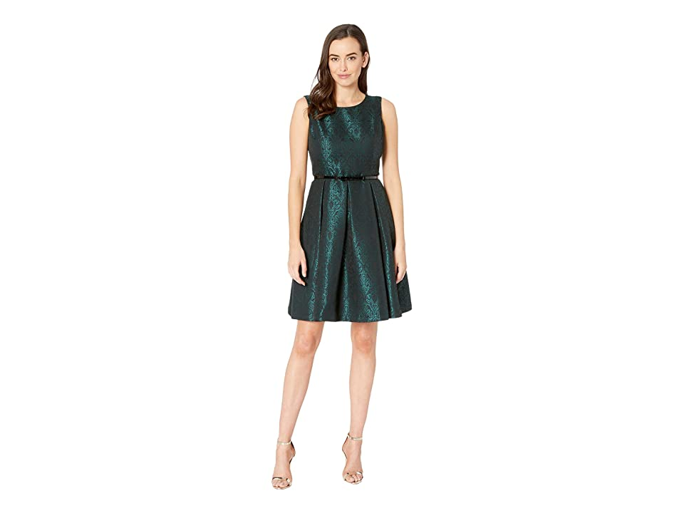 Nine West Jacquard Sleeveless Crew Neck Fit Flare Dress w/ Belt (Evergreen/Black) Women