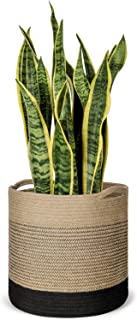 Mkono Jute Plant Basket Modern Indoor Planter Up to 11 Inch Pot Woven Storage Organizer with Handles Home Decor, 12
