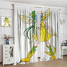 Smbeefly Anime - Cortina opaca para ventana, diseño de estrellas de cerezo con dibujos animados y diseño de rayas, cortina...