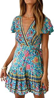 Shmily Girl Women's Dresses Summer Wrap V Neck Bohemian Floral Print Ruffle Swing A Line Beach Mini Dress