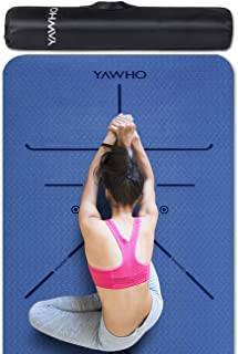 YAWHO Colchoneta de Yoga Esterilla Yoga Material medioambiental TPE,Modelo:183cmx66cm Espesor:6milímetros,Tapete de Deporte Grande y Antideslizante,Correas y Mochilas como Regalos