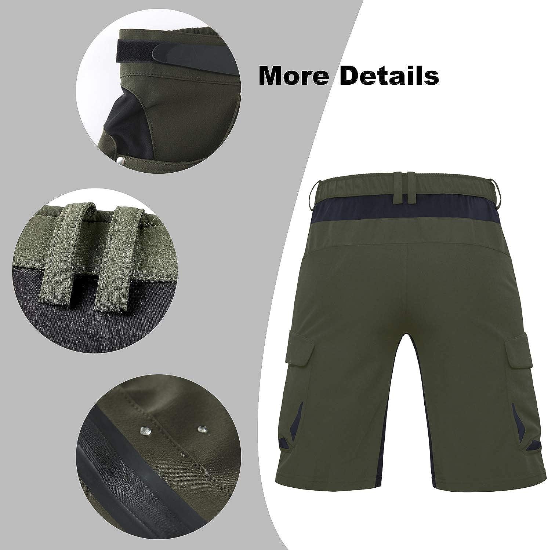 Cycorld Mens-MTB-Shorts-Mountain-Bike-Shorts Loose Fit Baggy Cycling Shorts with Removable Padding Liner