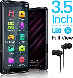 MYMAHDI MP3 Player, High Resolution and Full Touch Screen, HiFi Lossless Sound Player with FM Radio, Voice Recorder, 8GB Supports up to 128GB,Black