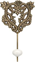 Stonebriar Decorative Brass Metal Floral Heart Shaped Wall Hook with Ceramic Knob, Vintage Home Decor, Single Hook to Hang Coats, Backpacks, Towels, Robes, and Much More