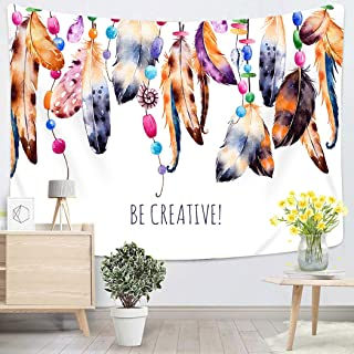 Lichtion Tapestry Beautiful Template Watercolor Feathers Ribbons Shells Beads Strings Pearls Wall Hanging Polyester Living Room Beach Towel Picnic Mat Bedding Decoration 60 X 80 Inches