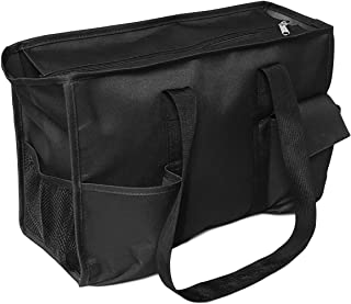 Solid Color Zipper Top Organizing Game Day Tote Diaper Bag Weekender Tailgate Can Be Personalized (Blank - Black)