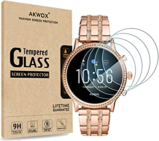 [4-Pack] Akwox Tempered Glass Screen Protector for Fossil Gen 5 Julianna, [2.5D Arc Edges High Definition 9H Hardness] Ant...