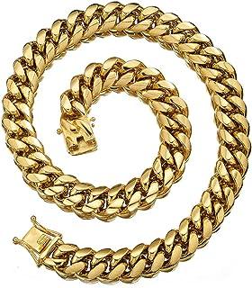 قلادة وسوار للرجال والنساء من جيويليري كينجدوم 18 قيراط سلسلة من سلسلة حلقات معدنية كوبية مجوهرات للرجال، قلادة للنساء، من...