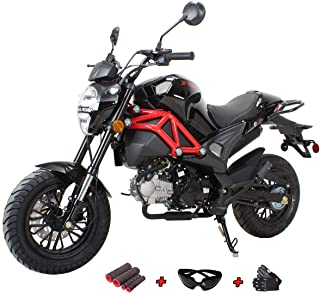 X-Pro 125cc Vader Gas Motorcycle Adult Motorcycle Dirt Motorcycle Street Bike Motorcycle Bike with Gloves, Goggle and Handgrip