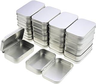 LJY Juego de mini cajas rectangulares de metal vacías con bisagras, 95 x 62 x 20 mm