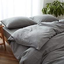 RELIABLE BEDDING 100% Linen Sheets Full - 3 Pcs Stone Grey Linen European Flax Set 1 Fitted Sheet & 2 Pillowcase Breathabl...