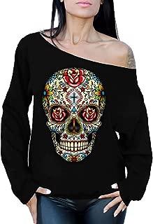 Awkwardstyles Rose Eyes Skull Off The Shoulder Oversized Sweatshirt Sugar Skull