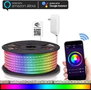 Maxonar LED Strip Lights Works with Alexa WiFi LED Light Strip,RGB Multicolor Waterproof IP65 Strip Light Wireless Smart Phone Controlled DIY Kit Works Amazon echo Google Home(16.4Ft)