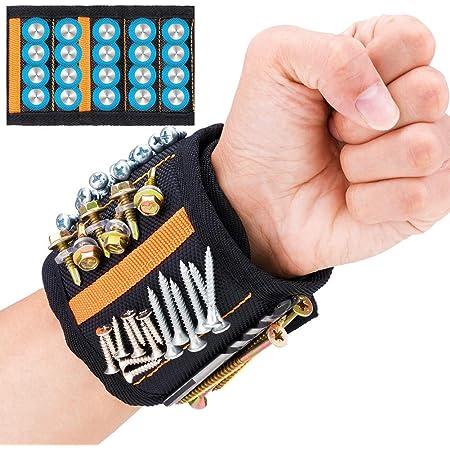 JTENG Bracelet Magnétique Réglable avec 20 Aimants Super Puissants et 2 Poches Profondes Bracelet avec Aimants pour Vis, Clous, Boulons et Petites Pièces Métalliques Cadeau pour Père,Cadeau