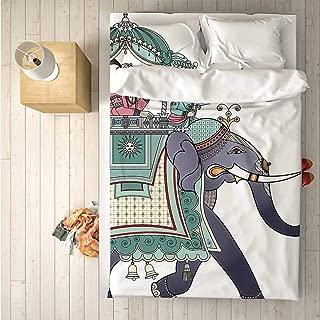 Arabesque Comfortable 4 Piece Bedding Set,Ornate Ethnic Elephant with Prince Ethnic Asian National Celebration Illustration Decorative for Hotel,One Side Print : Double