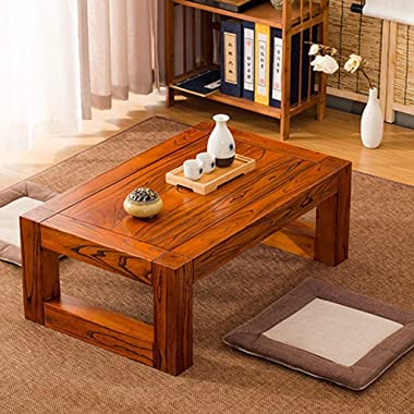 Table Solid Wood Rectangular Coffee Old Elm Coffee Tatami Coffee and Bay Window Solid Wood Japanese Tea and Low (Size : 50 *
