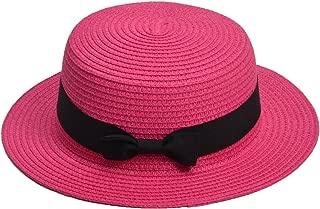 Womens Mini Straw Boater Hat Fedora Panama Flat Top Ribbon Summer A456