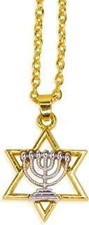 Messianic Jewish Necklace, Gold Plated Judaica Hebrew Pendant Chain Necklaces