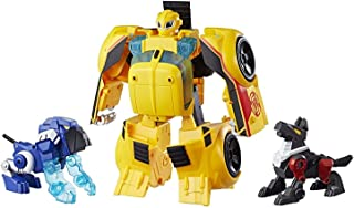 Playskool Heroes Transformers Rescue Bots Bumblebee Rescue Guard 10-Inch Converting Toy Robot Action Figure, Lights and Sounds, Toys for Kids Ages 3 and Up