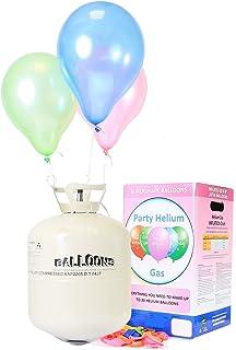 Ballongas Helium Für bis zu 50 Luftballons / XXL Einweg Heliumbehälter inkl. 50 Latexballons / Ballonband für leichtes befüllen von Ballons