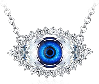 Tojean Gifts for Mom 'Evil Eye' Women Necklace Blue Eye Pendant Made with Swarovski Crystal, Jewelry for Women, for Lover