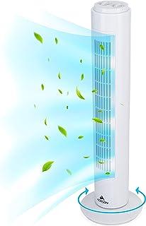 AERSON Ventilador de torre con oscilación de 76 cm con 3 niveles de velocidad, 45 W, función de temporizador, oscilante 70°, Blanco
