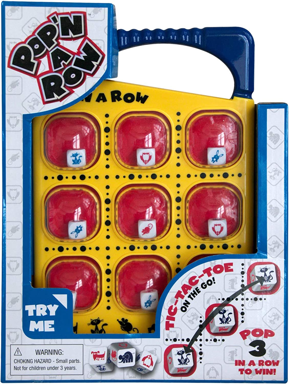 Tic Tac Toe Kids Game, Pop'n a ROW From Reeve + Jones, with Push and Pop Dicespinning Action, Portable Design with Builtin Carry Handle for Travel
