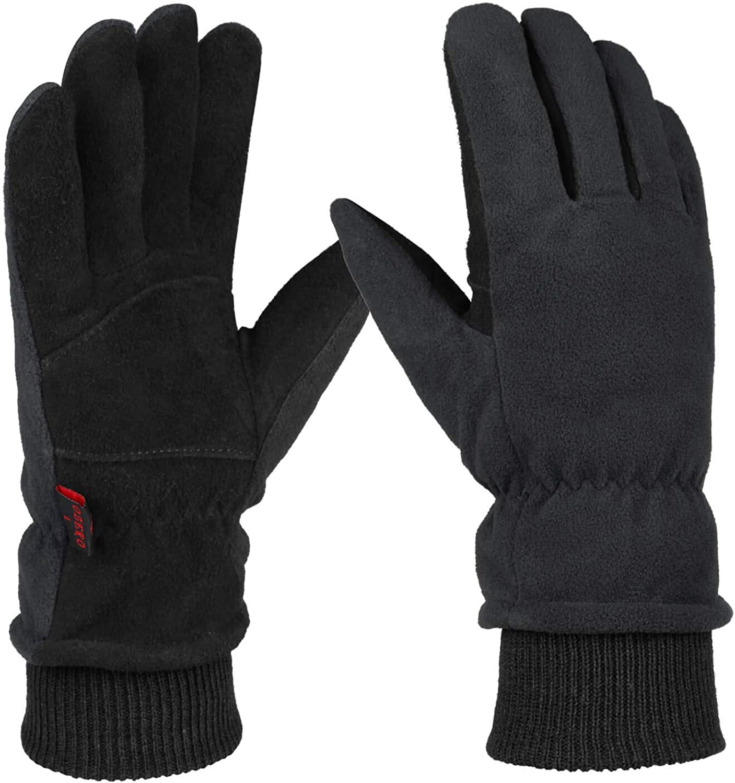 Winter Gloves,Windproof Genuine Deerskin Leather Gloves for Men and Women