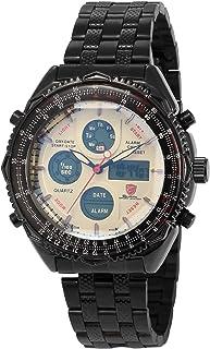 Eightgill Shark Men's White Dial Dual Time Digital LCD Stopwatch Quartz Sport Wrist Watch