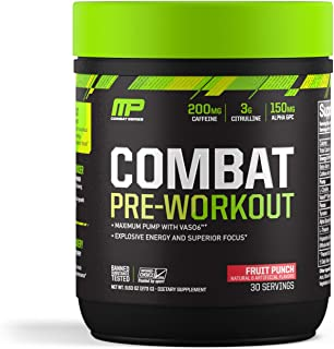 MusclePharm Combat Pre-Workout Powder, Fruit Punch, 30 Servings