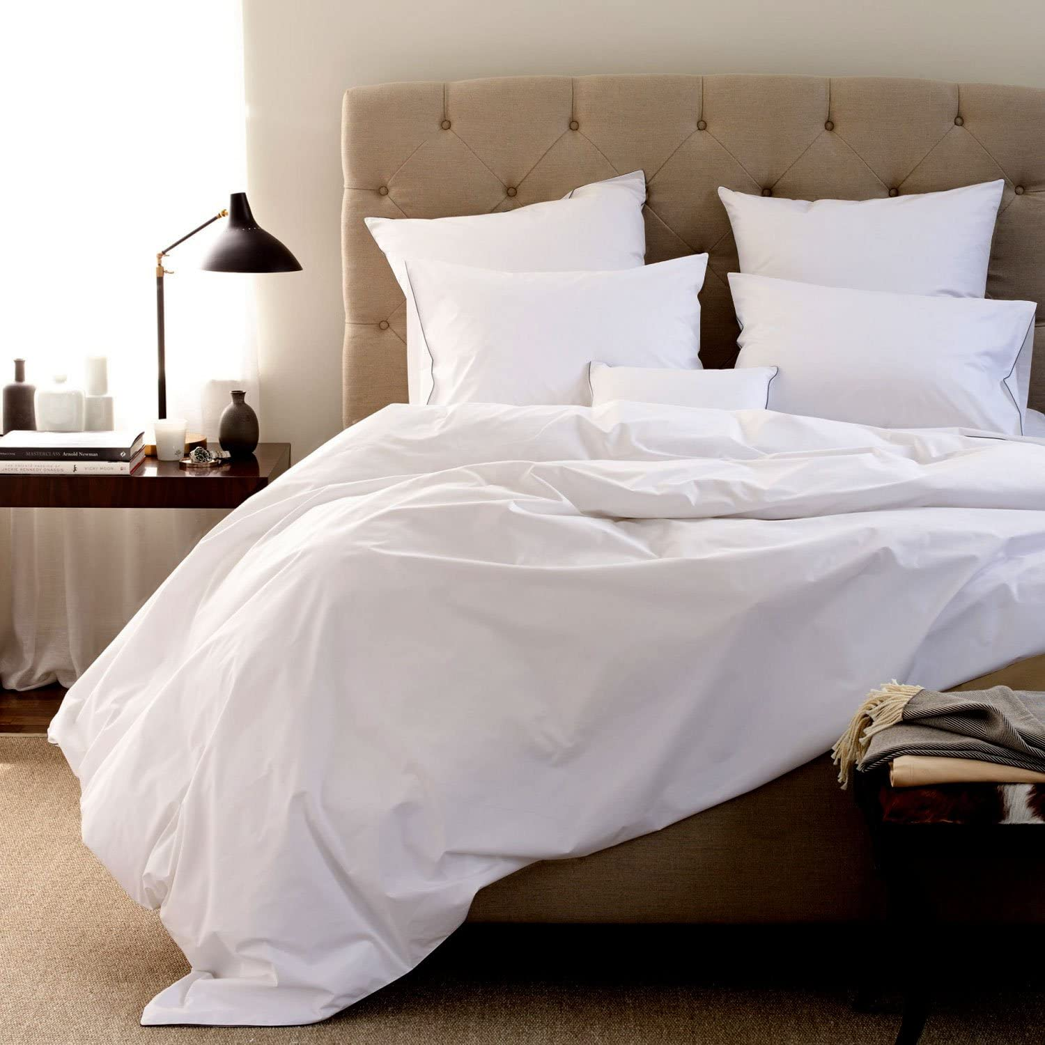 Egyptian Cotton 650 Thread Count Queen 4 Piece Sheet Set Deep Pocket Single Ply Solid White Home Kitchen Amazon Com