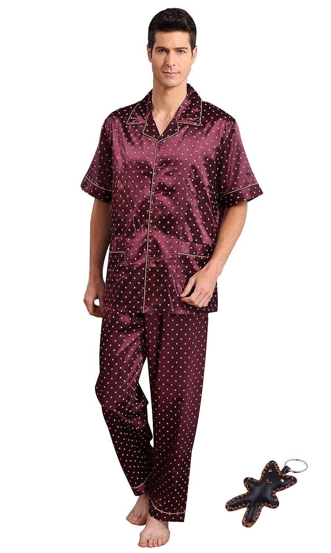 Tortor 1bacha(JP) 部屋着 メンズパジャマ 上下セット 半袖 つるつる パジャマ メンズ 春夏秋 ルームウェア ナイトウェア 前開き エレガント 光沢感 触り心地も着心地もいい カジュアル L-XXXL (L, JHS)