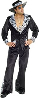 Mens Pimp Daddy Costume Black Velvet Suit for Bachelor Stag Party Fancy Dress