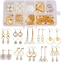 SUNNYCLUE 1 Box DIY 10 Pairs Geometric Hollow Earring Making Starter Kit Classic Round Square Heart Triangle Charm Connector, Earring Stud Hooks Jewelry Making Supplies Craft for Beginners, Golden