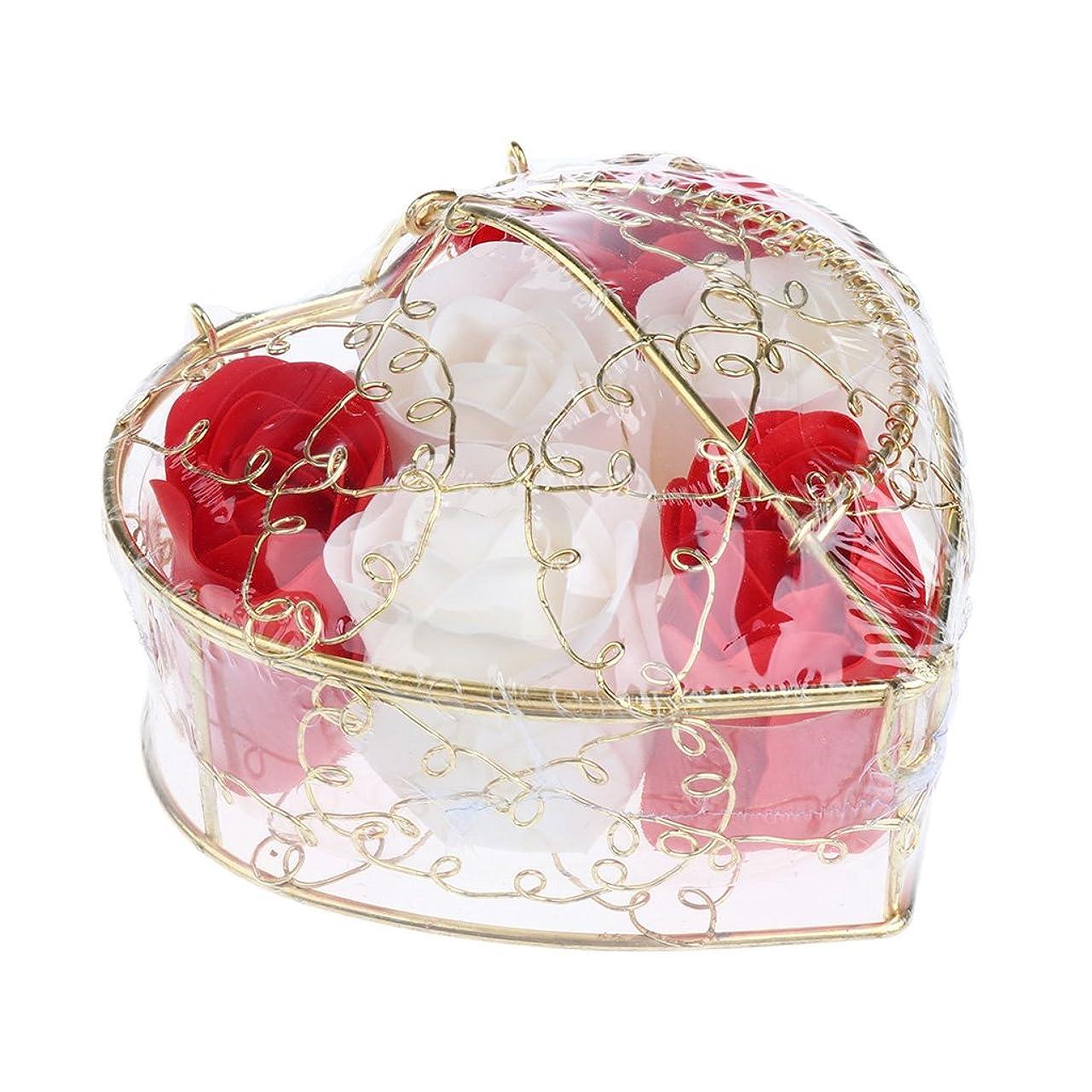 クアッガ尊敬する暫定Fenteer 6個 ソープフラワー 石鹸の花 バラ 心の形 ギフトボックス  バレンタインデー  ホワイトデー  母の日 結婚記念日 プレゼント 全5タイプ選べる - 赤と白