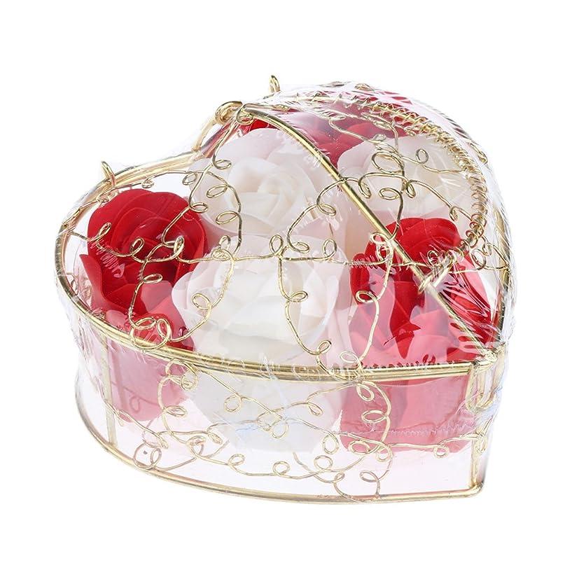 レイアウト山積みの狐Fenteer 6個 ソープフラワー 石鹸の花 バラ 心の形 ギフトボックス  バレンタインデー  ホワイトデー  母の日 結婚記念日 プレゼント 全5タイプ選べる - 赤と白