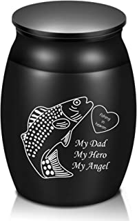 """Urns for Human Ashes-1.6"""" High Small Cremation Urns-Keepsake Urn for Man Woman-Fishing in Heaven, Fish Hook Black Mini Urn..."""