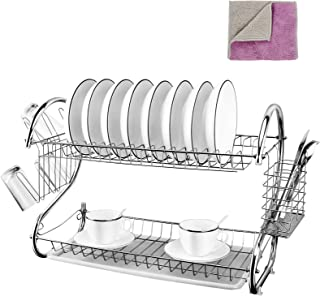 Kitchen 2-Tier Dish Rack Chrome Plated Dish Drying Rack Organizer with Utensil Holder/Drainboard for Counter,White 17 x 10...