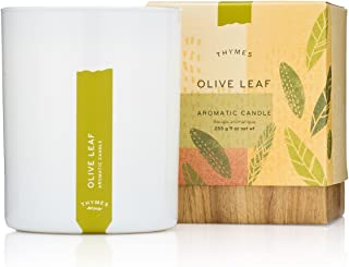 Thymes - Olive Leaf Aromatic Scented Candle - Long Lasting Fresh Scent with Gift Box - 9 oz