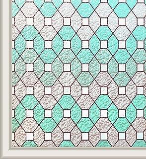Qualsen Stained Glass Window Film Privacy Window Films No Glue Decorative Static Cling Window Film (17.7 x 78.7 Inch)