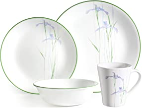 Corelle 16–Piece Vitrelle Glass Shadow Iris and Break Resistant Dinner Set, Green/Purple