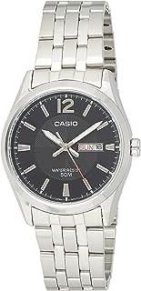ساعة يد رسمية ستانلس ستيل انالوج بعقارب للرجال من كاسيو MTP-1335D-1AV - فضي