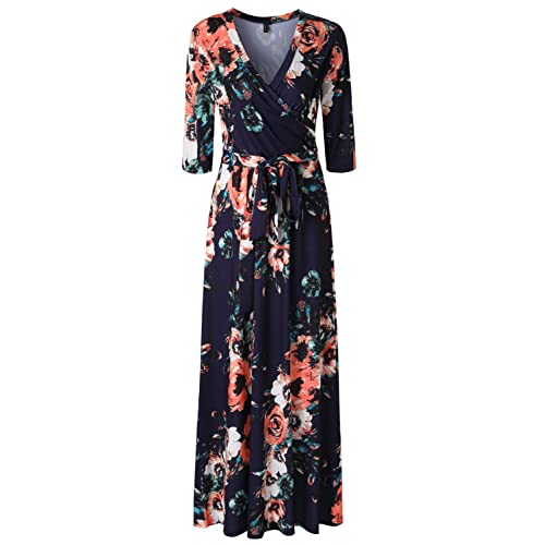 61d0bafb3f2 Zattcas Womens 3 4 Sleeve Floral Print Faux Wrap Long Maxi Dress with Belt