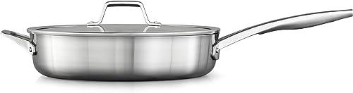 discount Calphalon outlet online sale Saute Pan wholesale with Lid, 5 QT, Silver online