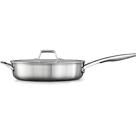 Calphalon Saute Pan with Lid, 5 QT, Silver