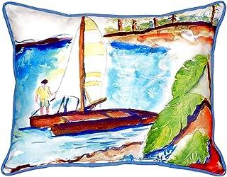 "Betsy Drake SN172 Catamaran Small Indoor/Outdoor Pillow, 11"" x14"""