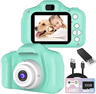 Kids Camera, 8.0 MP FHD Digital Video Recorder Shockproof Action Cameras with 2 Inch IPS Screen and 32GB SD Card for Girls...