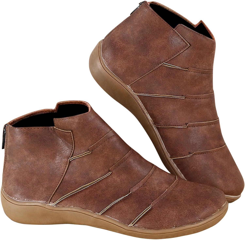 soyienma Boots for Women,Women Retro Ankle Short Boots Fashion Zipper Up Low Heels Cowboy Boots Winter Flat Platform Boots
